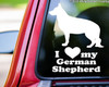 "I Love My German Shepherd  vinyl decal sticker 5.5"" x 7"" Dog Alsatian Wolf standing"
