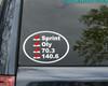 """Triathlon List vinyl decal sticker 6.5"""" x 4.5"""" Checklist 70.3 140.6 Tri Ironman - White w/Red Checkmarks"""