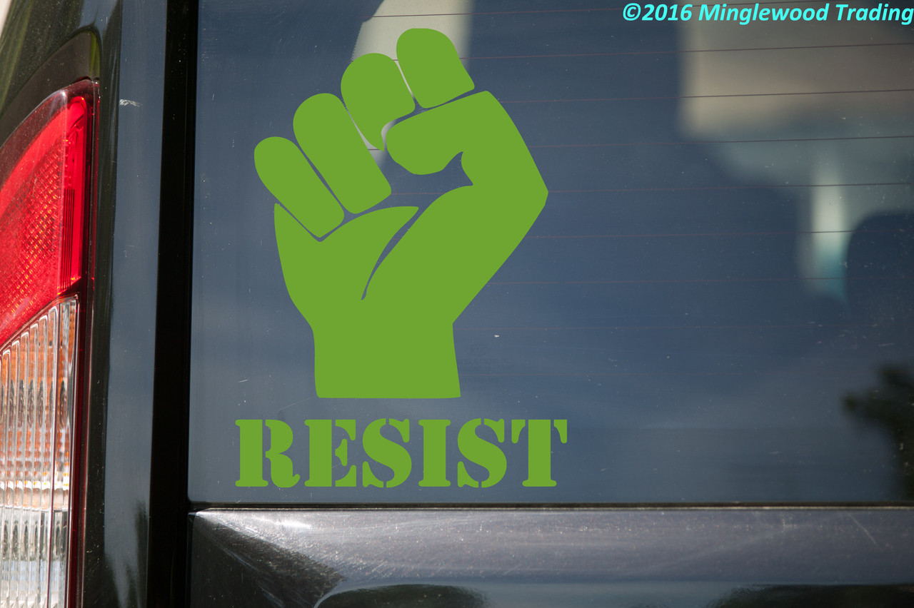 """RESIST with PROTEST FIST Vinyl Decal Sticker 8"""" x 6"""""""