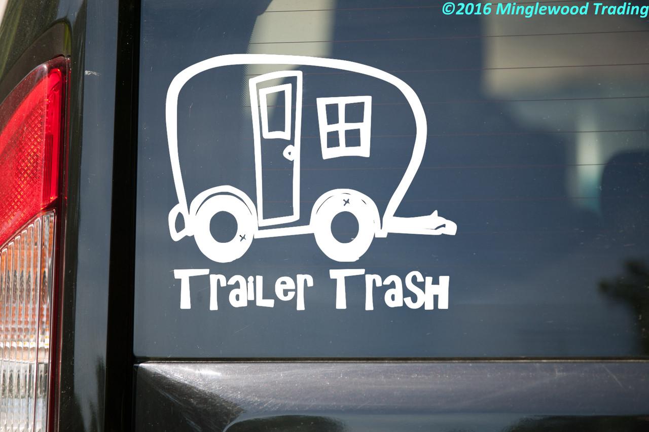 "Trailer Trash - Camping Travel Trailer Park RV Vinyl Decal Sticker - 6"" x 5.25"""
