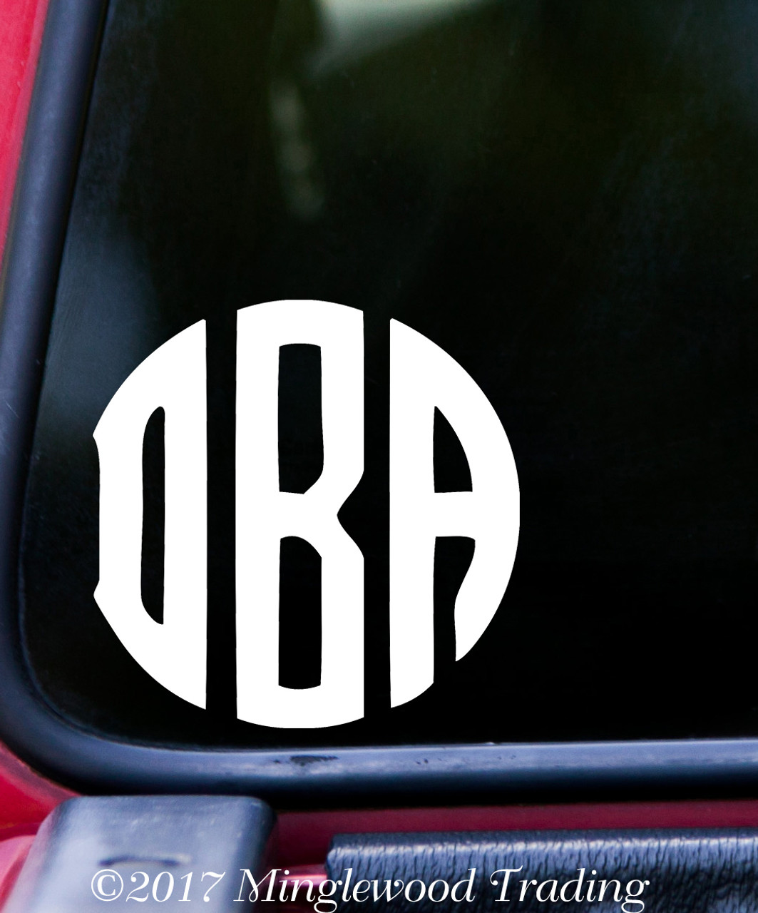 Circle Monogram Vinyl Sticker - Custom Name Initials - Personalized Die Cut Decal