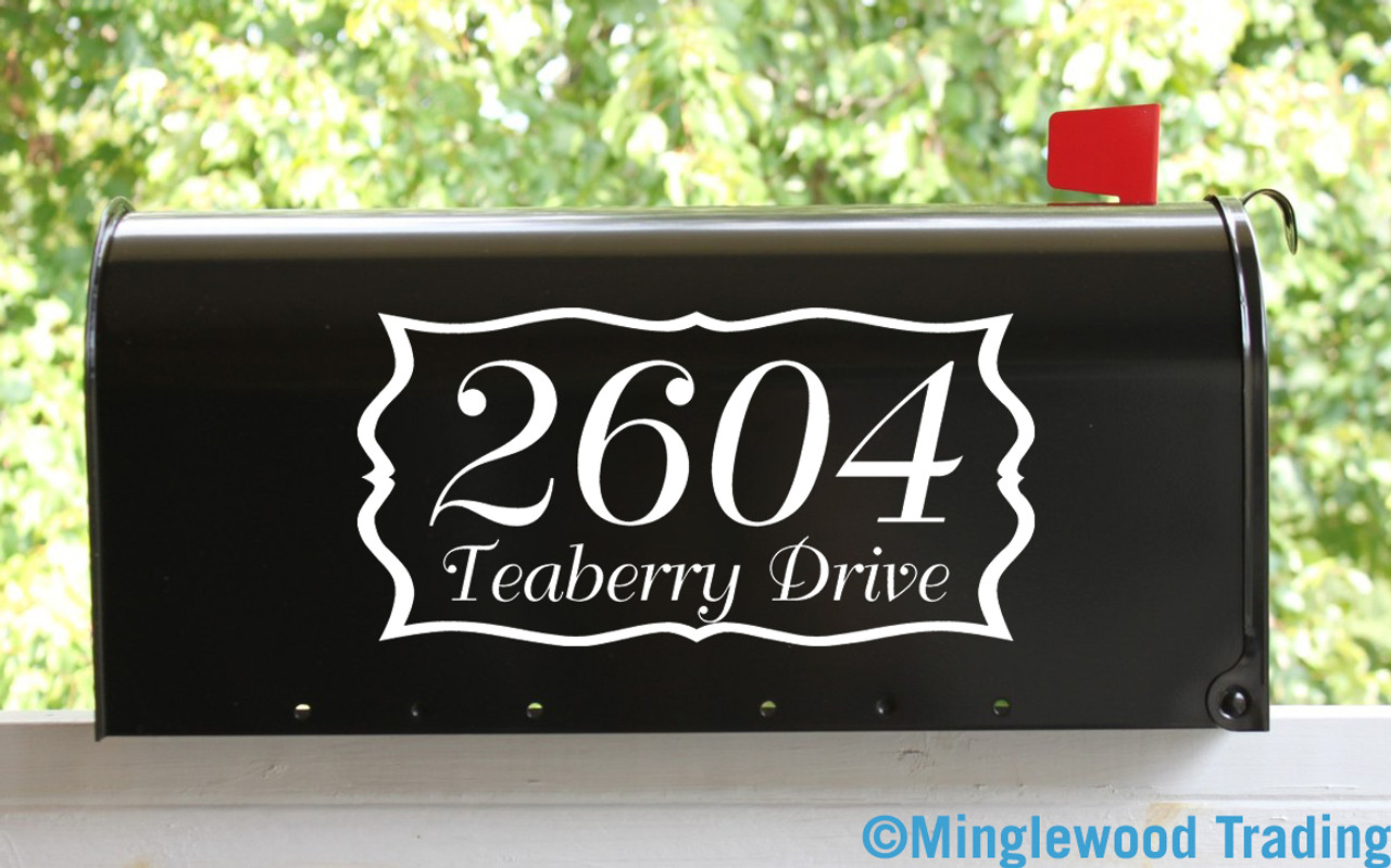 "2-Line CUSTOM MAILBOX HOUSE NUMBERS Vinyl Decal Sticker 12"" x 6"" Home Address"