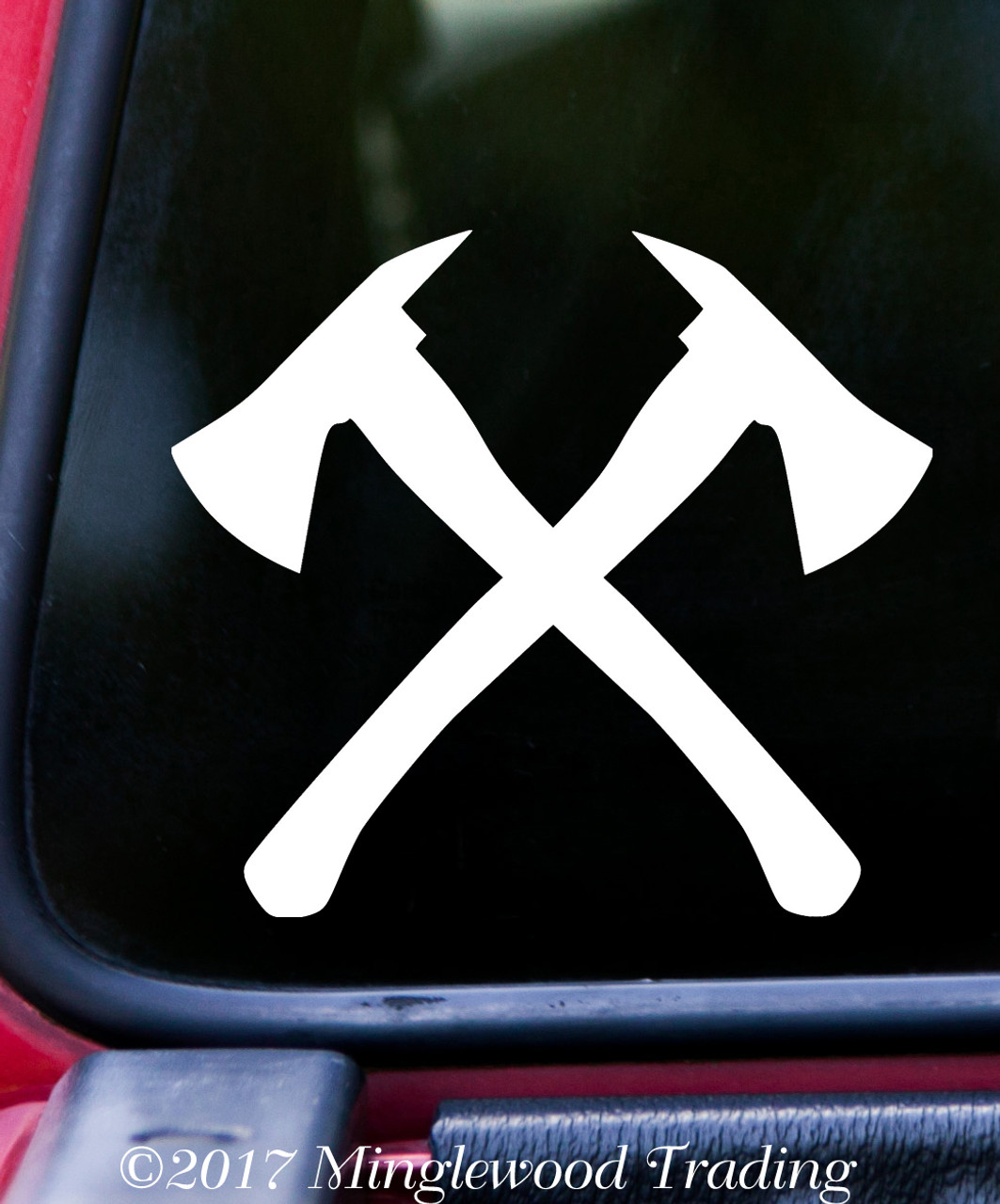 Crossed Firefighter Axes Vinyl Decal - Fireman Fire Dept - Die Cut Sticker