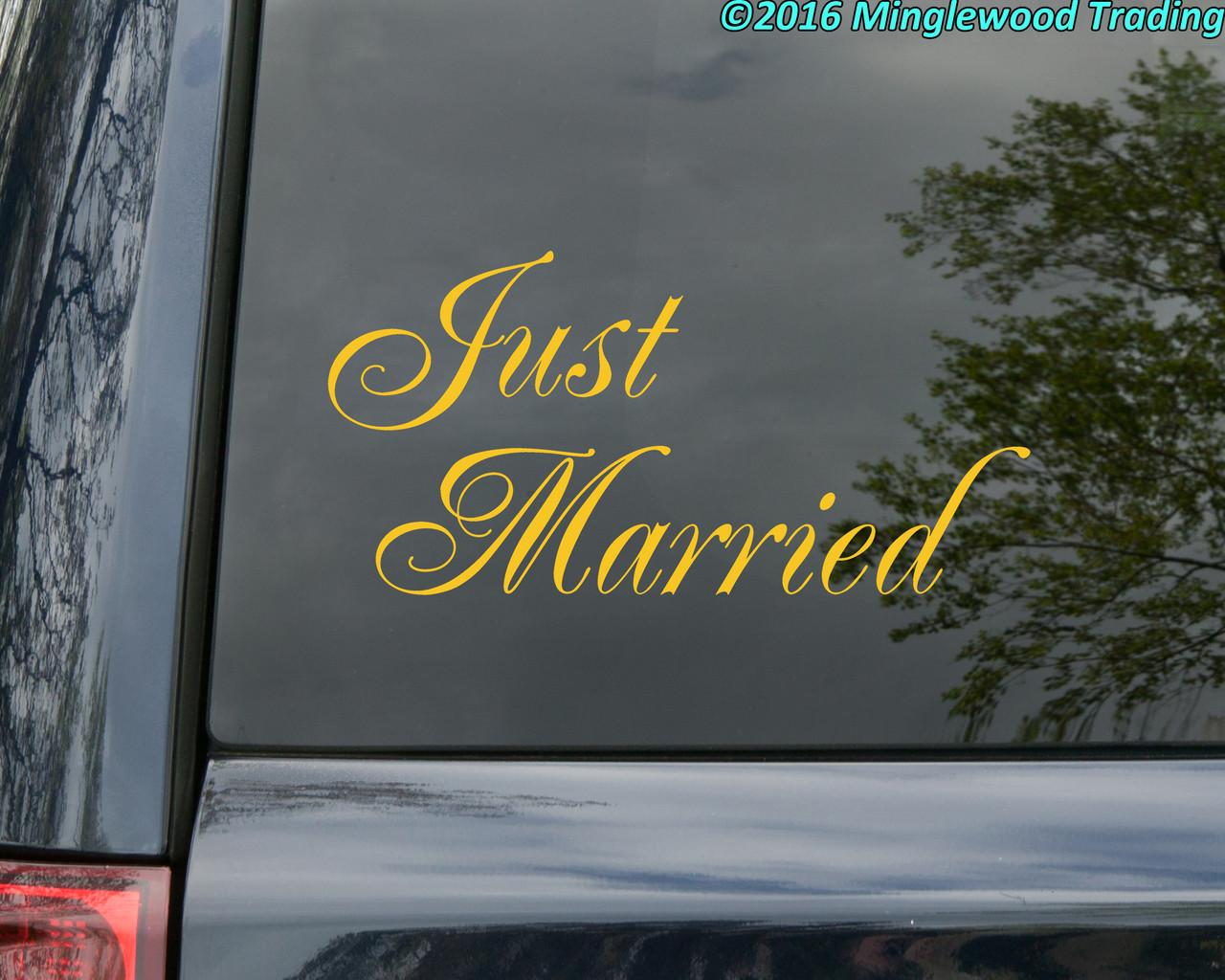 "Just Married 11.5"" x 6"" Vinyl Sticker - Honeymoon Wedding Marriage Vows Love - Die Cut Decal"