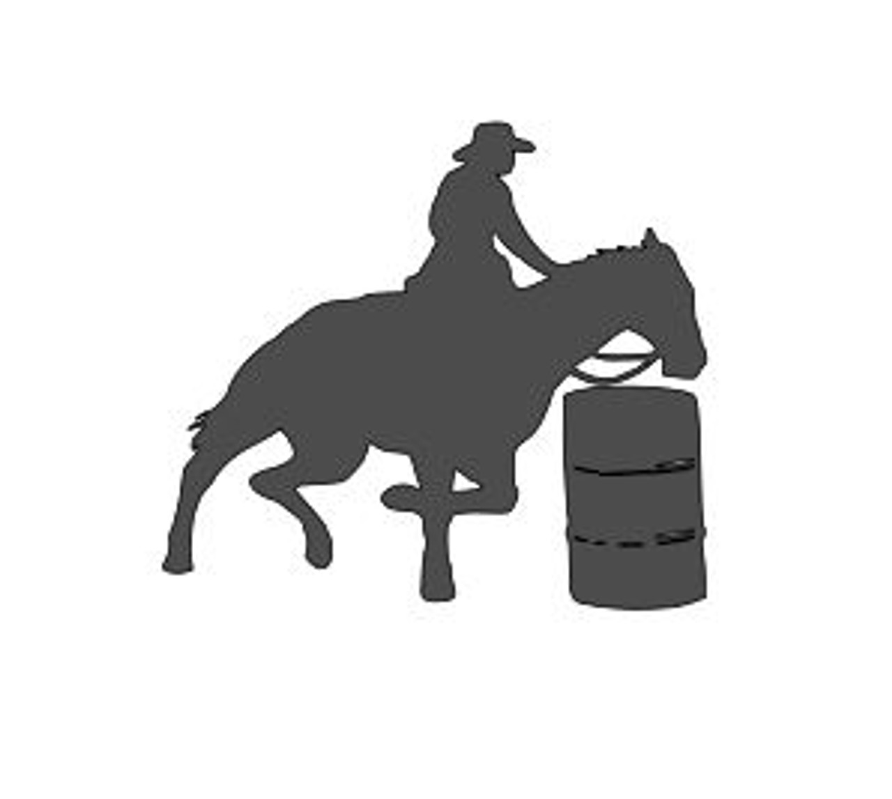 "Barrel Racing - Cowgirl on Horse - Vinyl Decal Sticker - 5"" x 4.5"""