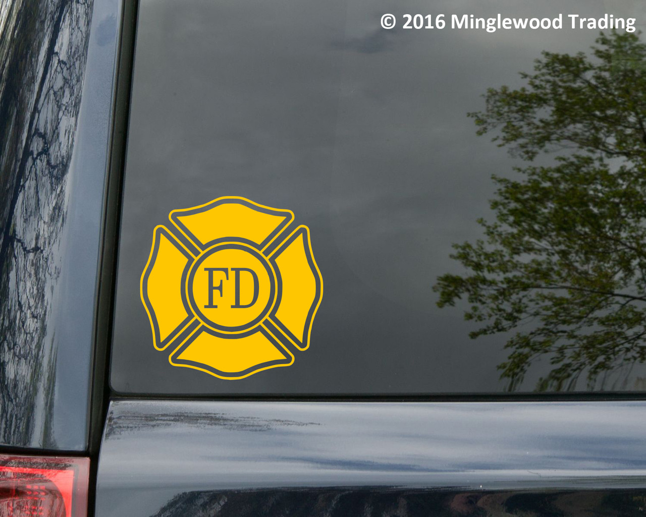 Fire Department Vinyl Decal V2 - Maltese Cross VFD Firefighter - Die Cut Sticker