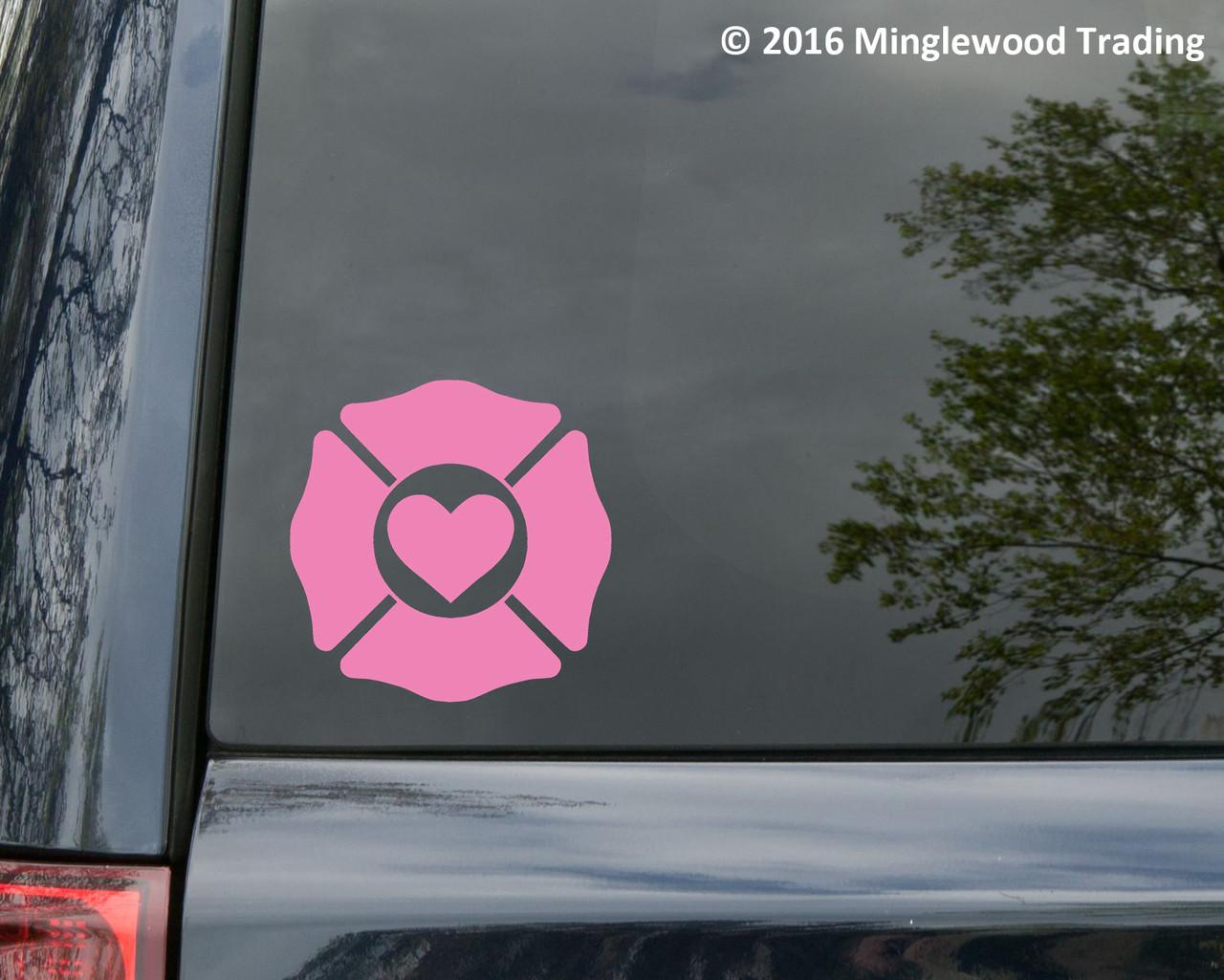 Firefighter Love Vinyl Decal - Maltese Cross Heart Fire Dept Support - Die Cut Sticker