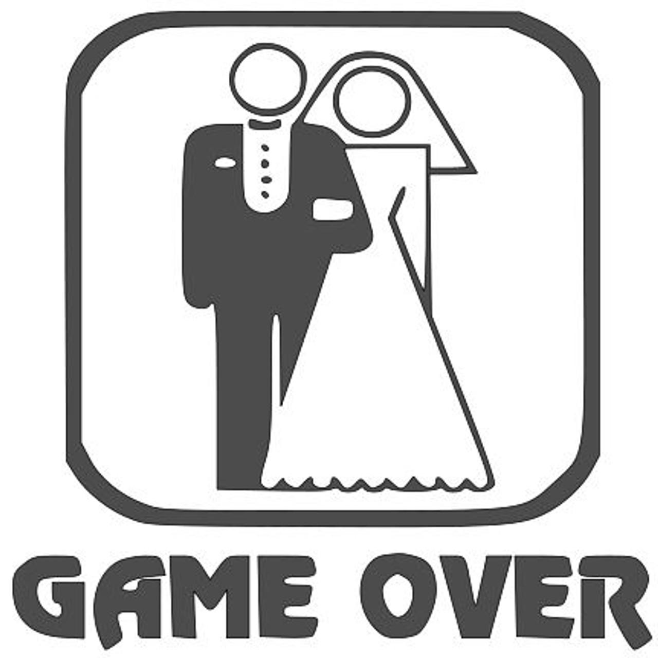 """Game Over Wedding - Vinyl Decal Sticker - 8"""" x 8"""""""