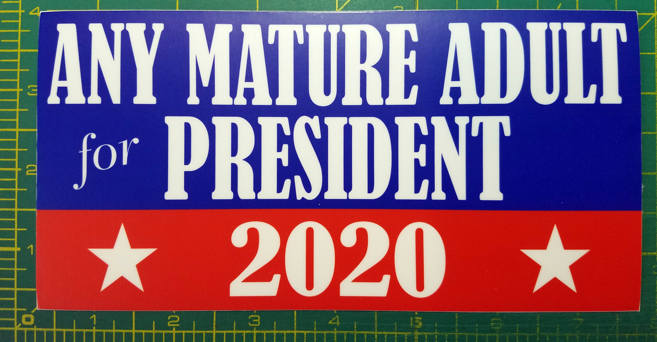 """ANY MATURE ADULT FOR PRESIDENT 2020 7.5"""" x 3.75"""" Vinyl Bumper Sticker Decal"""