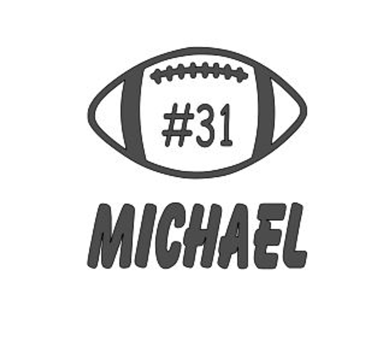 "Football with Name & Number - Vinyl Decal Sticker - 5"" x 4.5"""