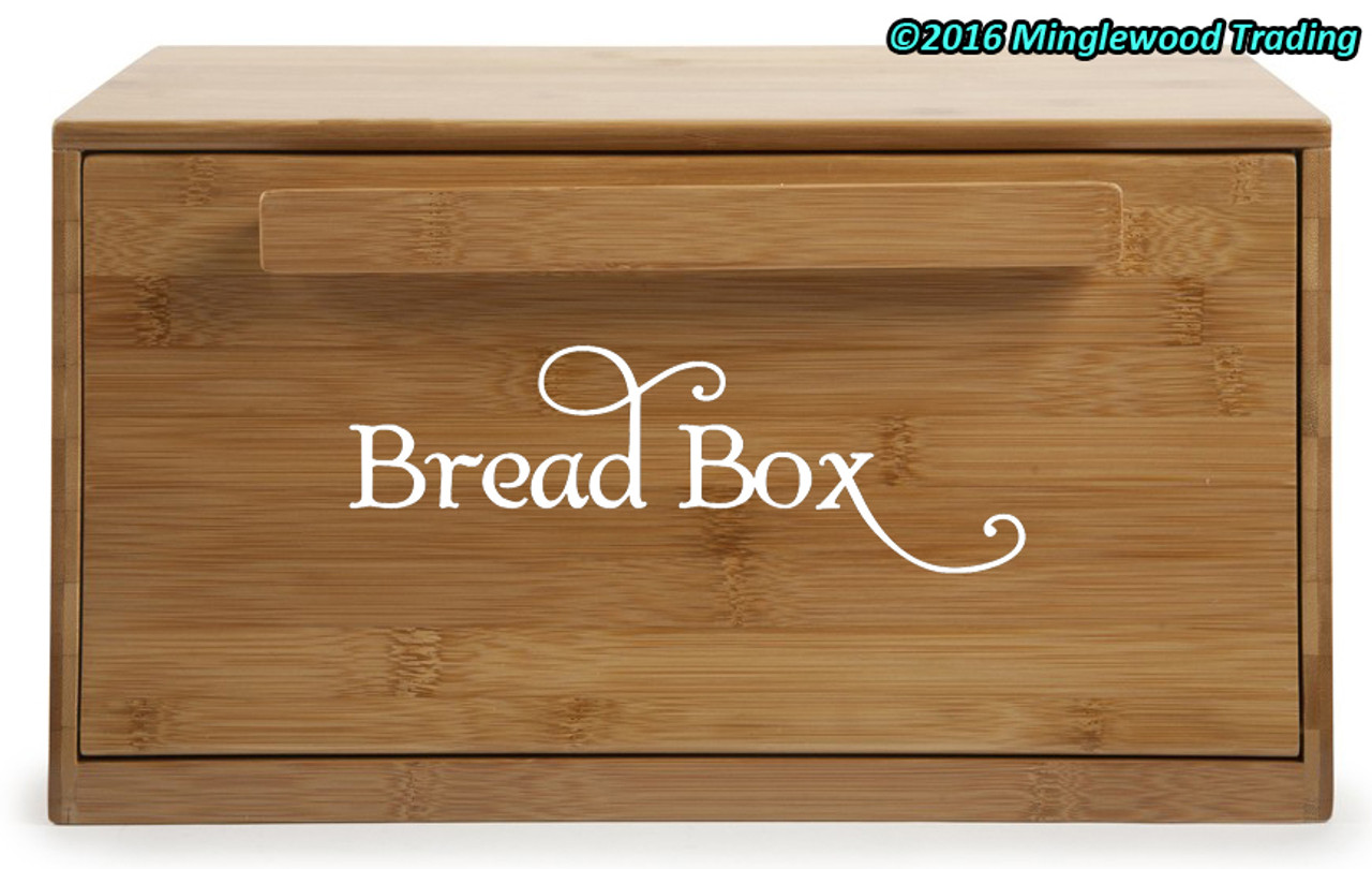 "Bread Box Label - Kitchen Breadbox Bread Bin Vinyl Decal Sticker - 6"" x 2"""