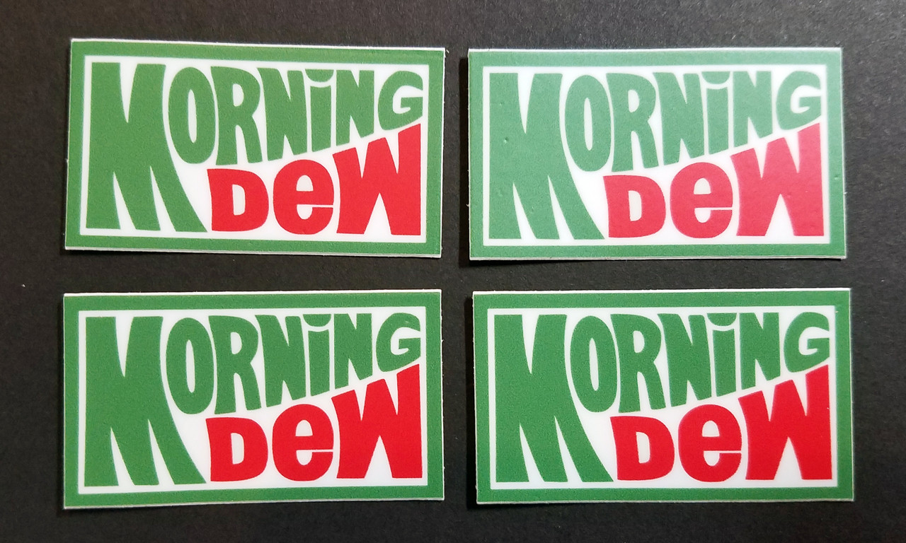 "4x MORNING DEW 1.75"" Die Cut Decals - Walk Me Out"