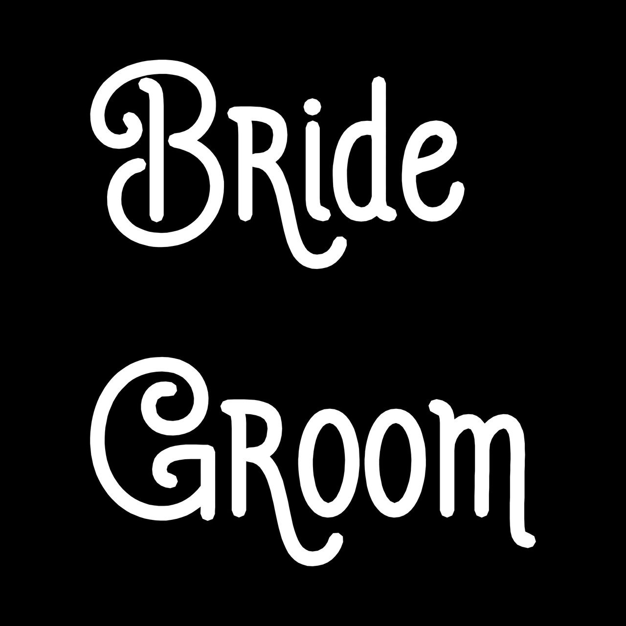 """BRIDE and GROOM 7.5"""" Vinyl Decal Stickers - V2 - Wedding"""