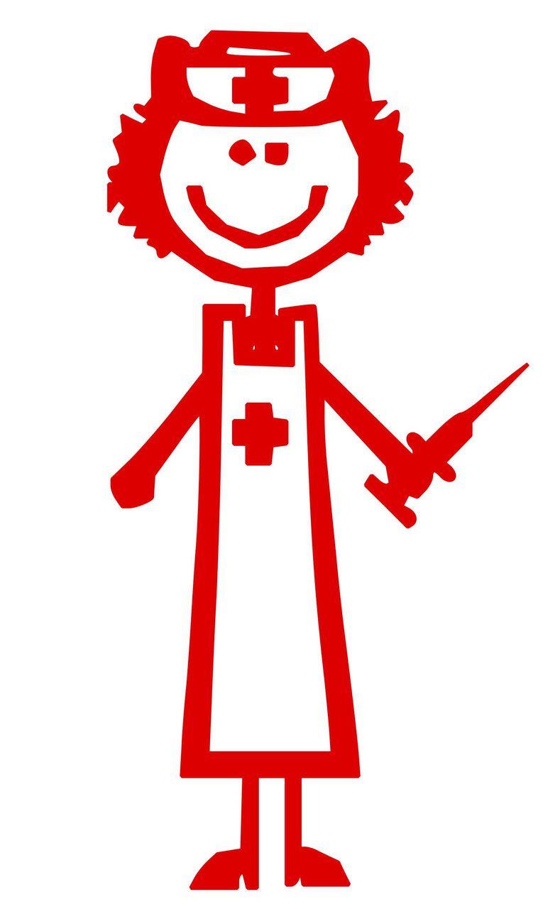 "Female Nurse - Candy Striper - EMT - Vinyl Decal Sticker - 4.5"" x 2.5"""