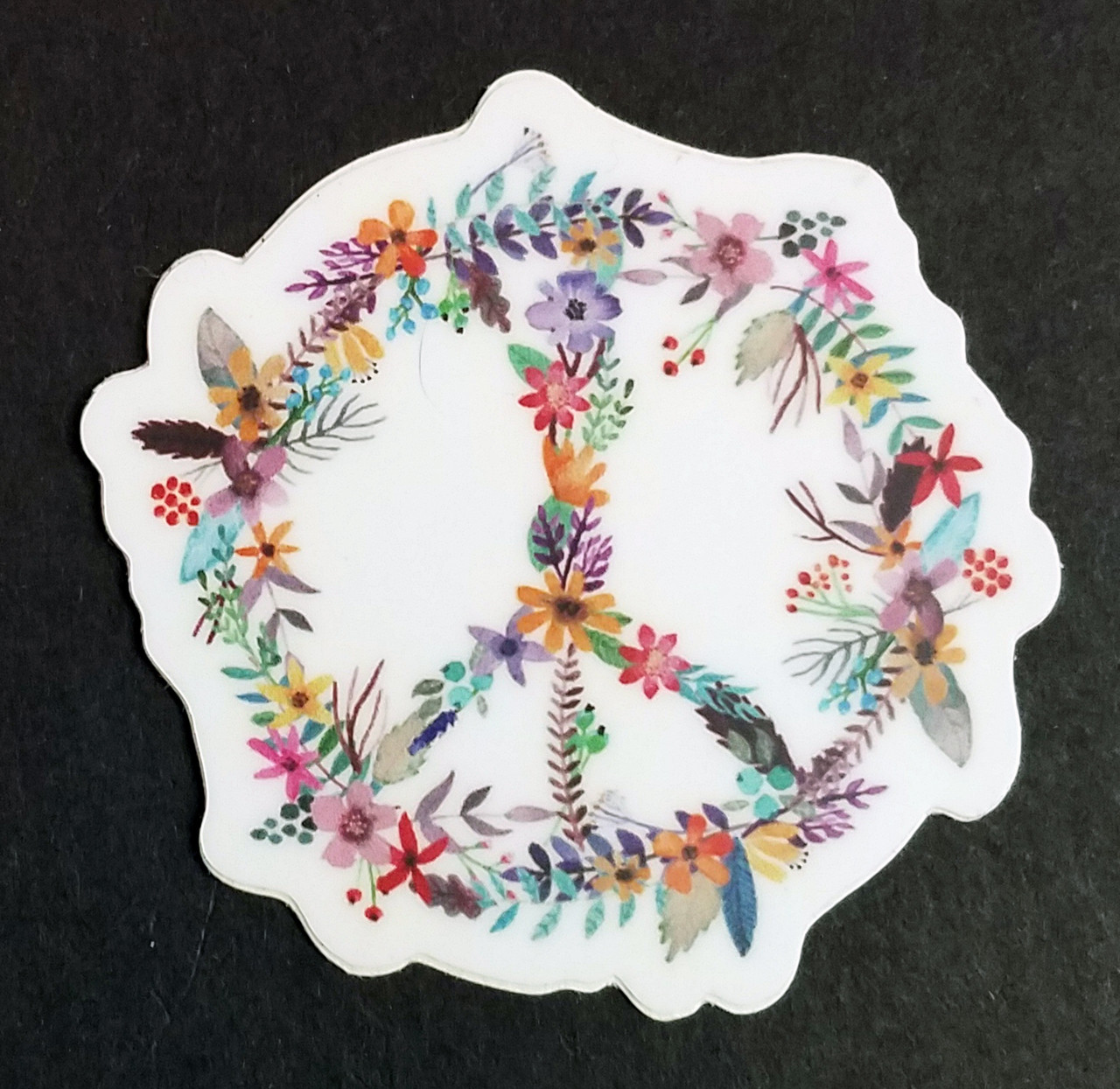 """2x PEACE SIGN of FLOWERS 2"""" Die Cut Stickers - Floral Gypsy Hippie Decals"""