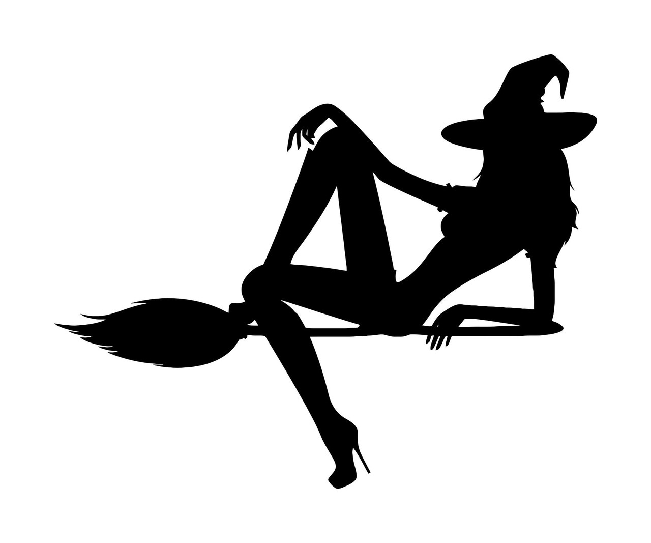 Witch on Broomstick Vinyl Decal Sticker -V3- Flying Halloween Sexy Witchcraft
