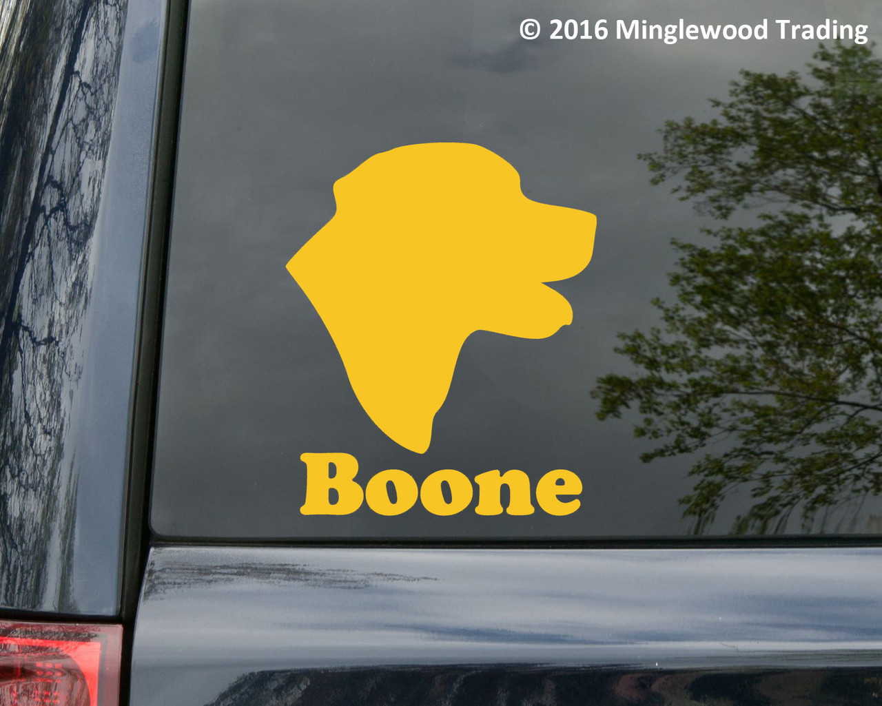 LABRADOR RETRIEVER Head with Personalized Name Vinyl Decal Sticker - Dog Profile Silhouette