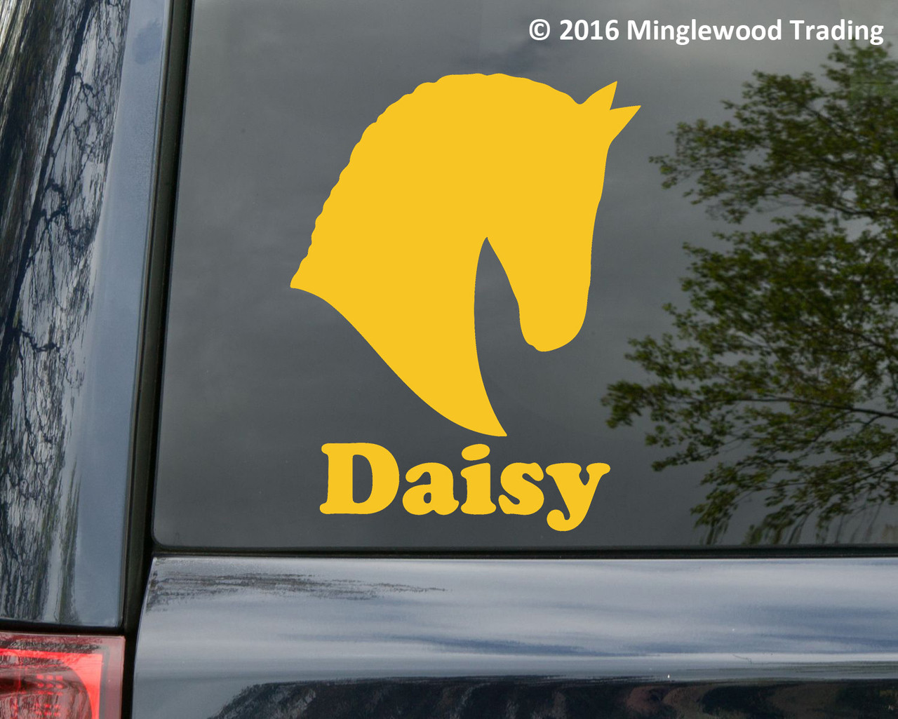 Horse Head -V5- with Personalized Name Vinyl Decal Sticker - Equestrian Farm Riding Dressage Equine Profile Silhouette