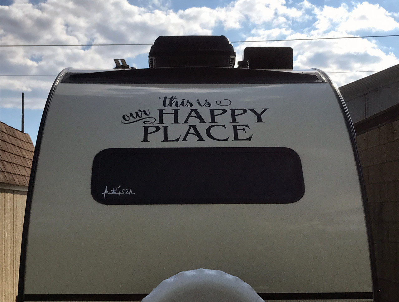This is Our Happy Place - Vinyl Decal Sticker - Camping Travel Trailer RV Glamping