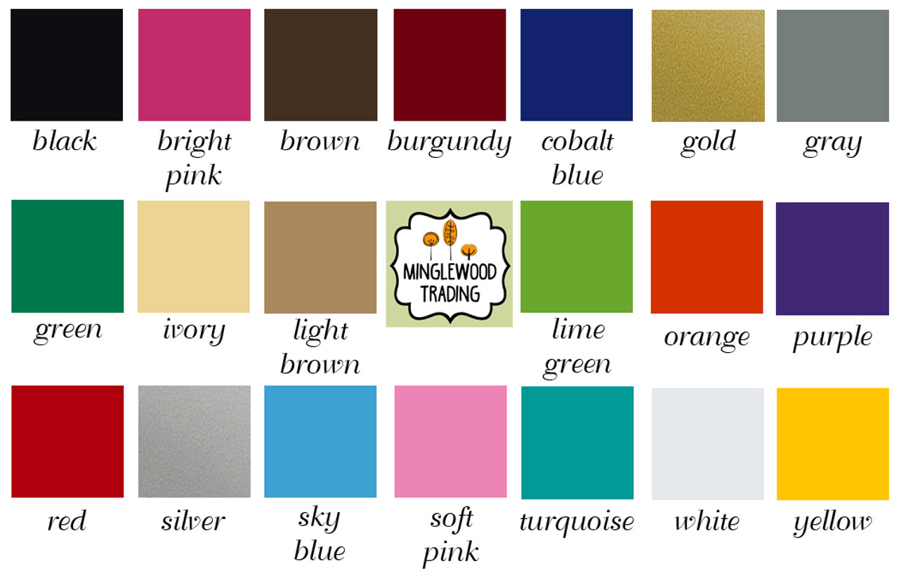 Color chart of the 20 vinyl colors offered by Minglewood Trading for vinyl die cut decal stickers.