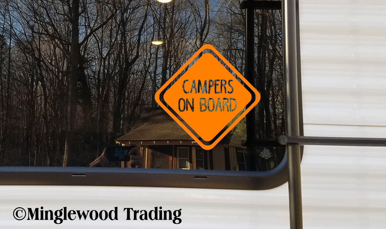 CAMPERS ON BOARD Vinyl Sticker - RV Campground Tent Camping - Die Cut Decal - 20 Colors & Multiple Sizes to choose from