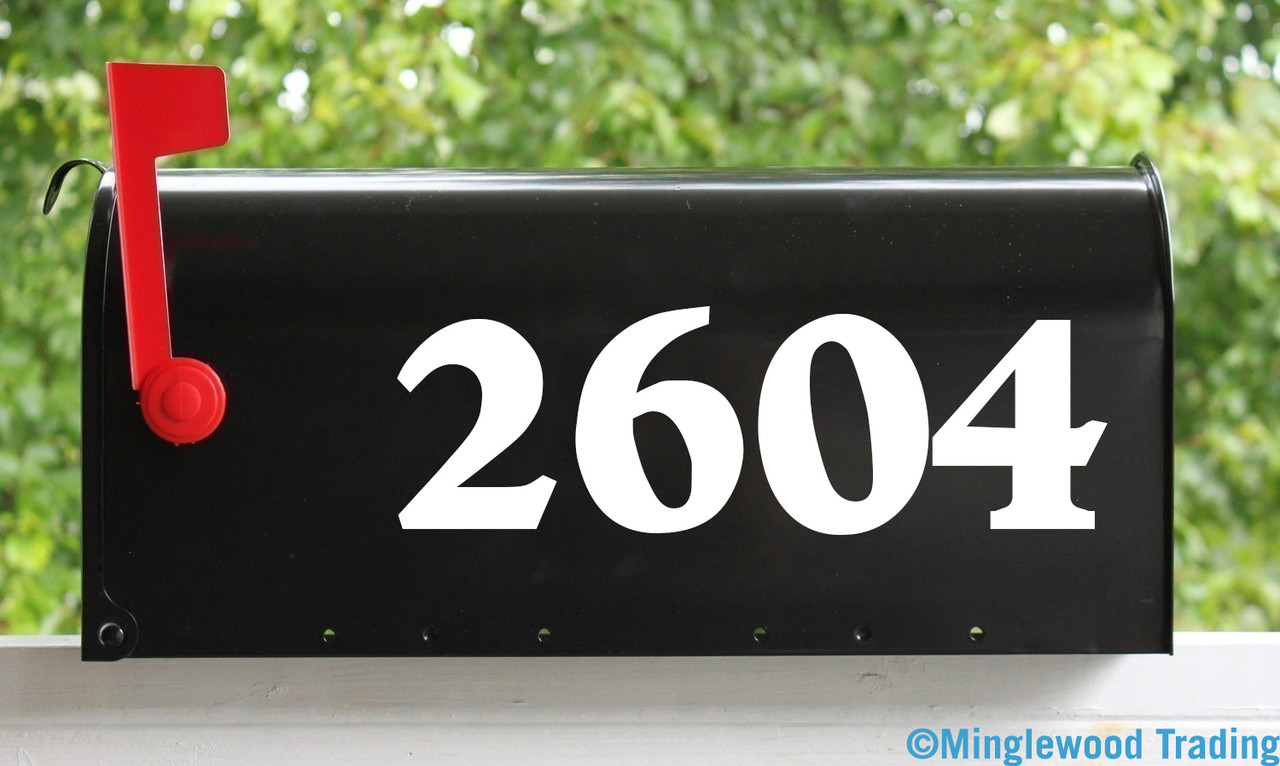 """2 Sets of 4"""" Custom Mailbox Numbers - Vinyl Die Cut Decals - 19 Style Choices"""