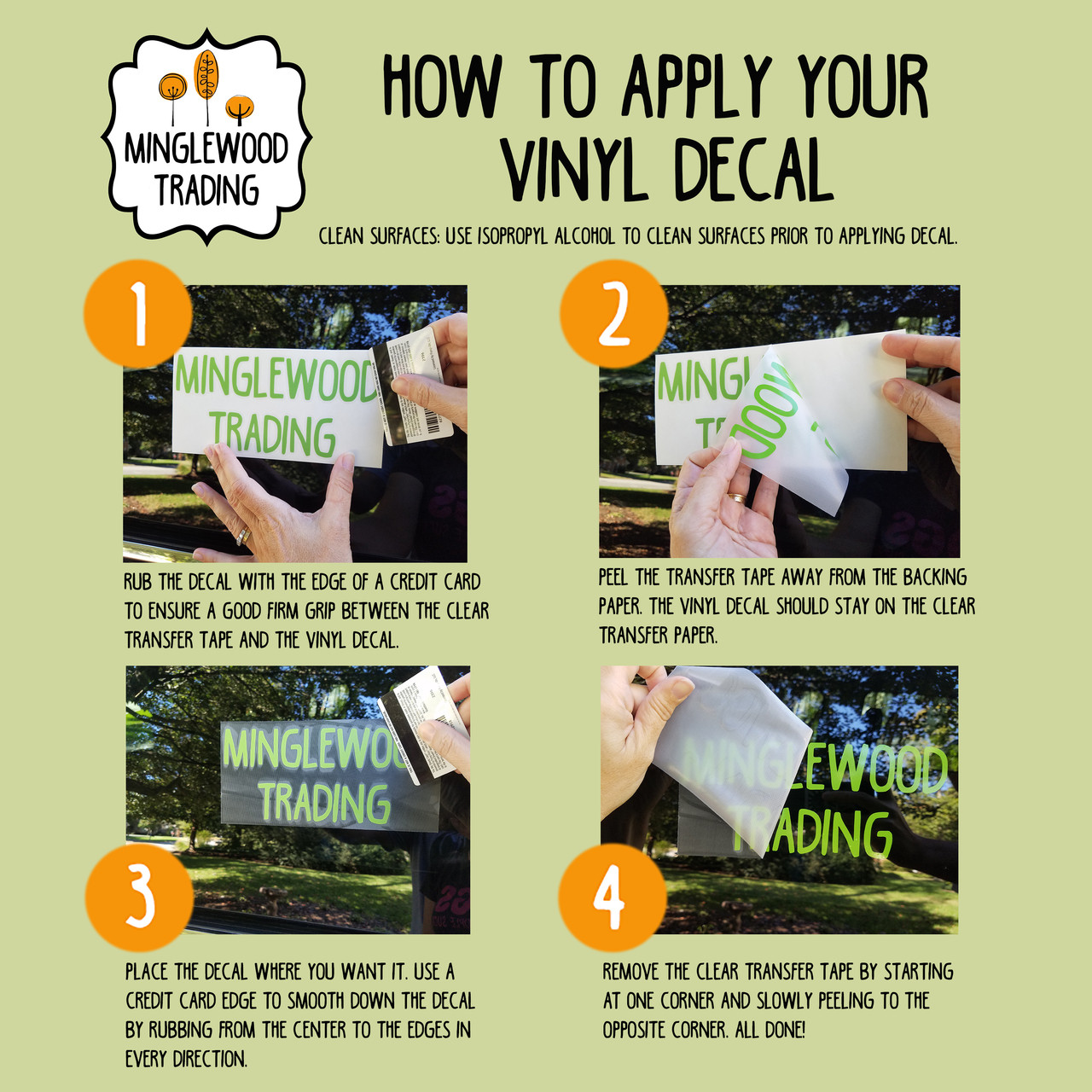 Instructions for applying vinyl die cut decal stickers from Minglewood Trading.
