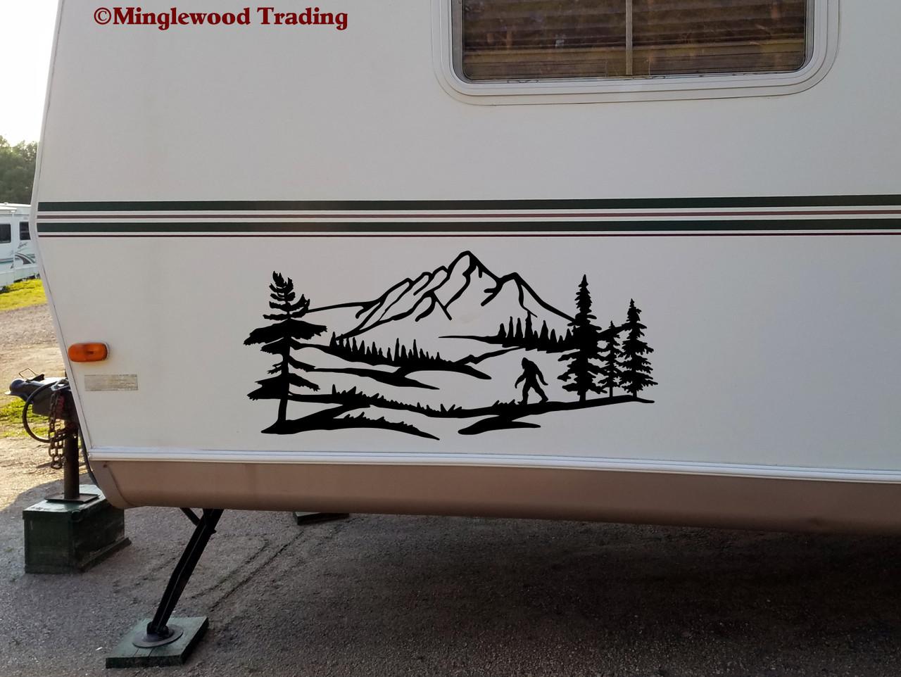Bigfoot Mountain Trees Scene V2 Vinyl Sticker - Camper RV Travel Trailer Graphics 4x4 - Die Cut Decal