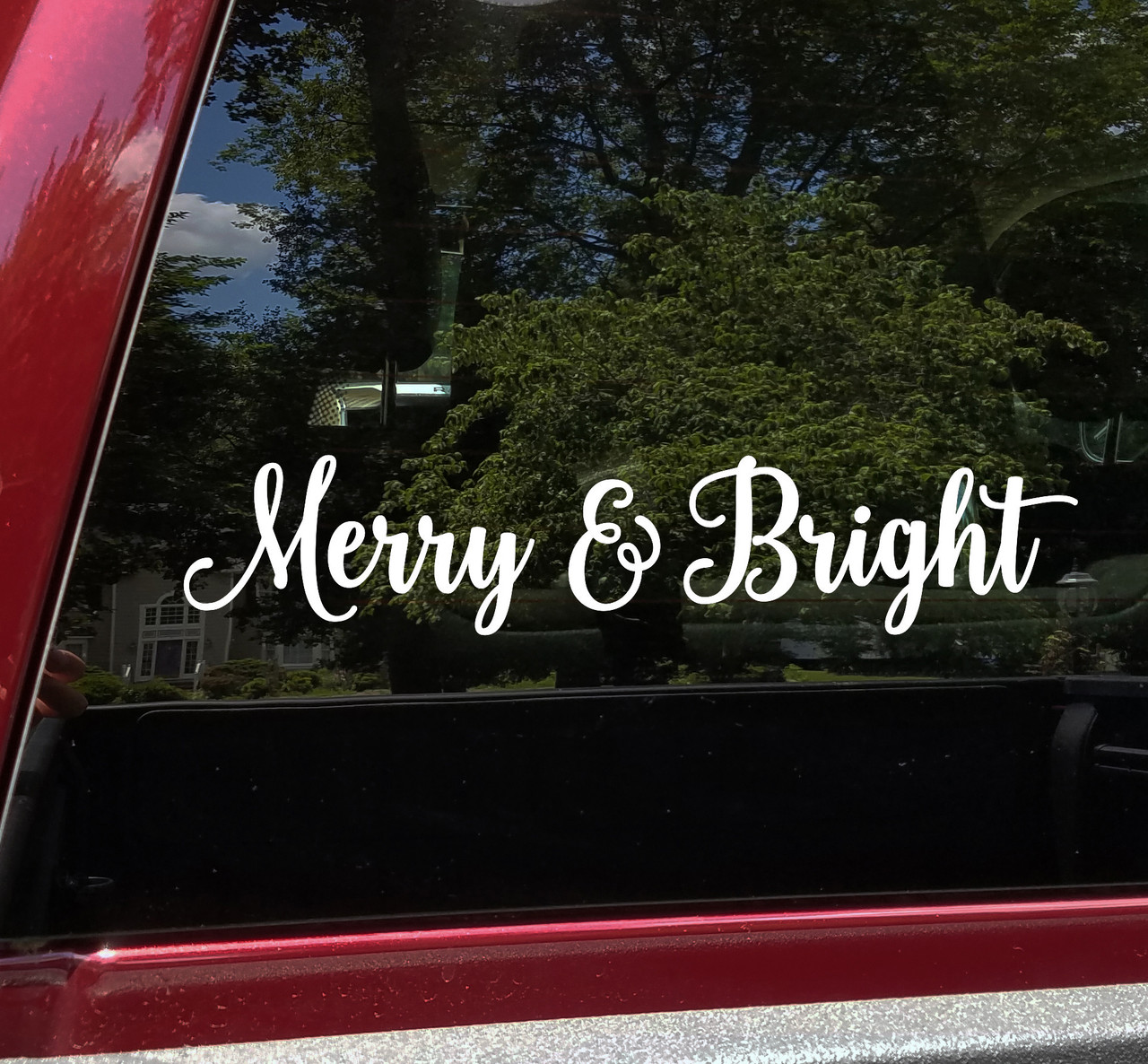 Merry & Bright Vinyl Decal V1 - Christmas Holidays Winter - Die Cut Sticker