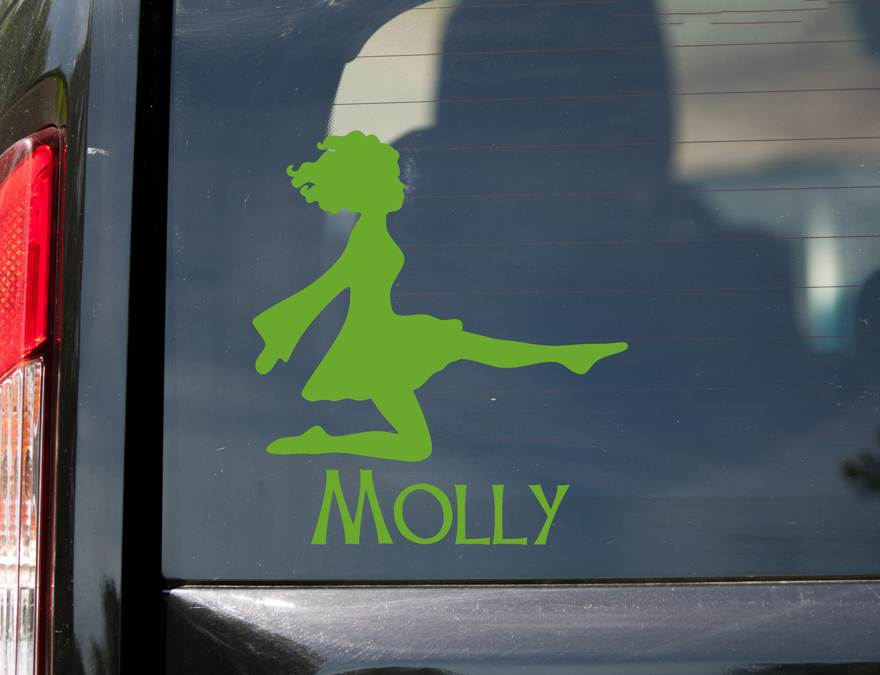 Irish Dancing Girl V2 with Personalized Name Vinyl Decal - Woman Step Dancer Ireland Dance - Die Cut Sticker