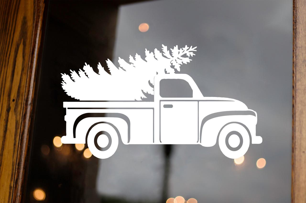 Pickup Truck with Christmas Tree Vinyl Decal - Vintage Truck Xmas Holidays - Die Cut Sticker
