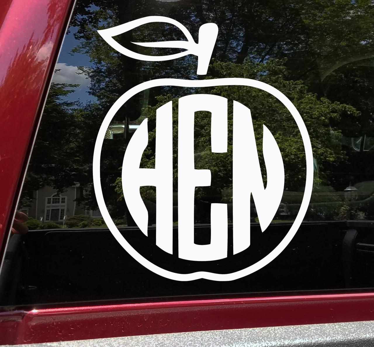 Apple Monogram Vinyl Decal - Teacher Personalized Custom Die Cut Sticker