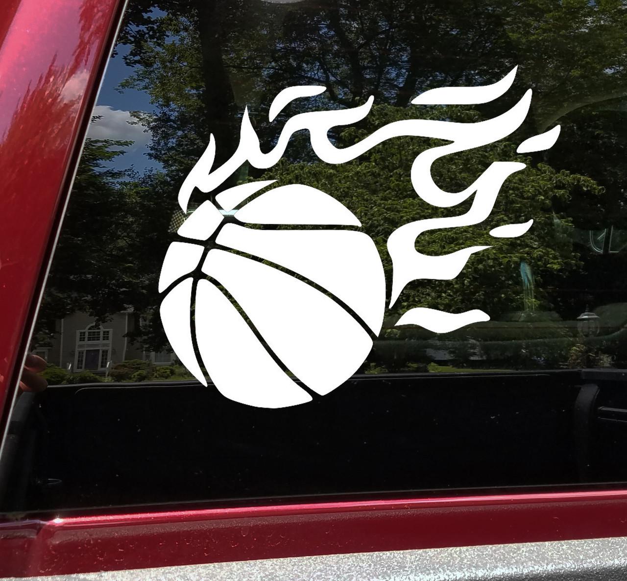 Flaming Basketball Vinyl Decal - Flames Ball Hoops Court Team - Die Cut Sticker