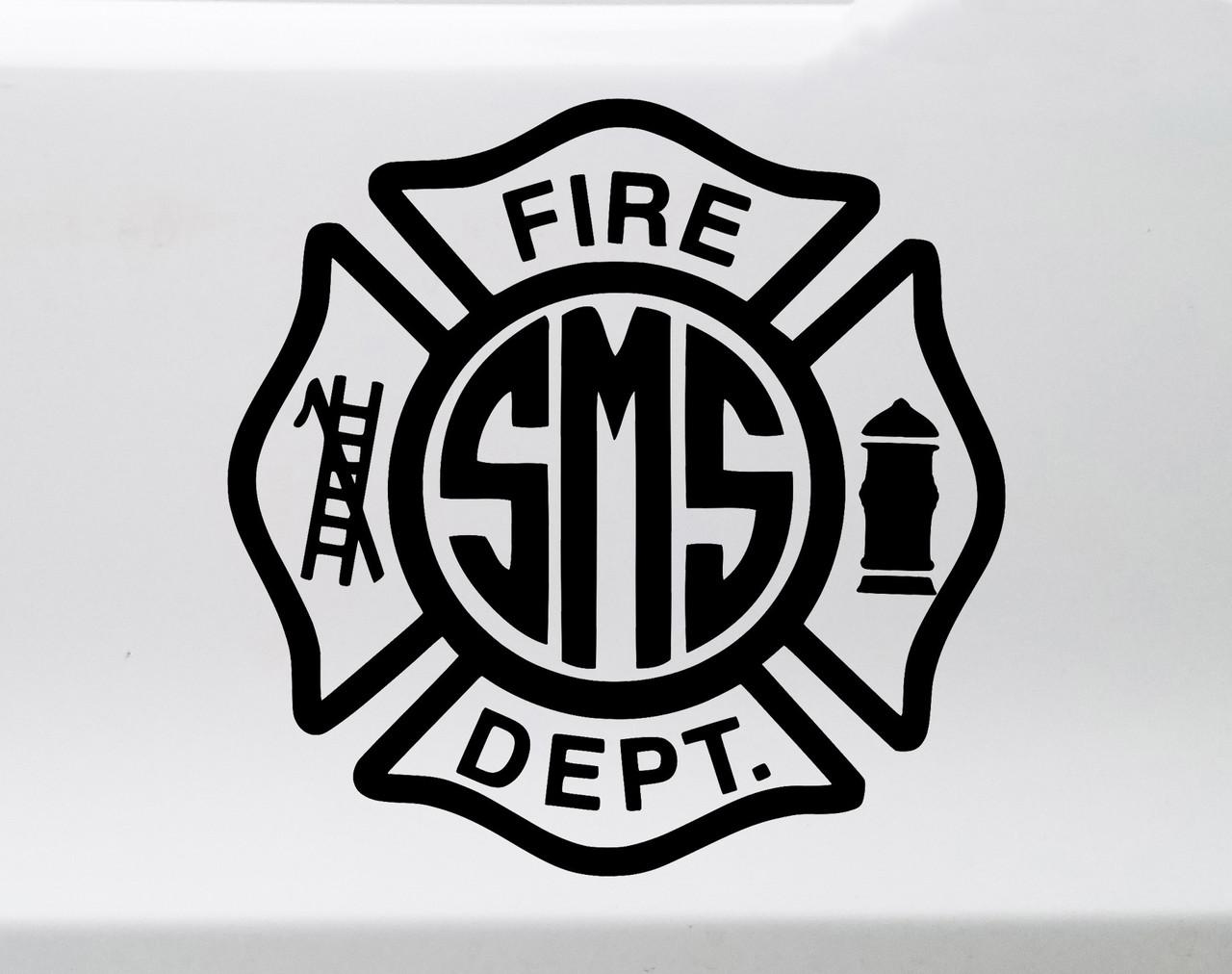 Fire Department Monogram Vinyl Decal - Maltese Cross Personalized - Die Cut Sticker