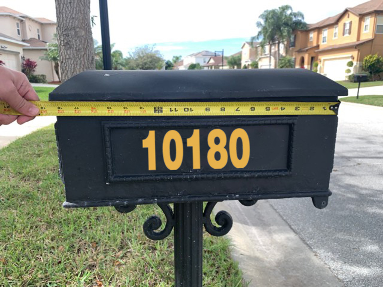 """set of two 3""""h x 8""""w HOA Mailbox Numbers in Gold - Vinyl Decals - Helvetica - Die Cut Stickers"""
