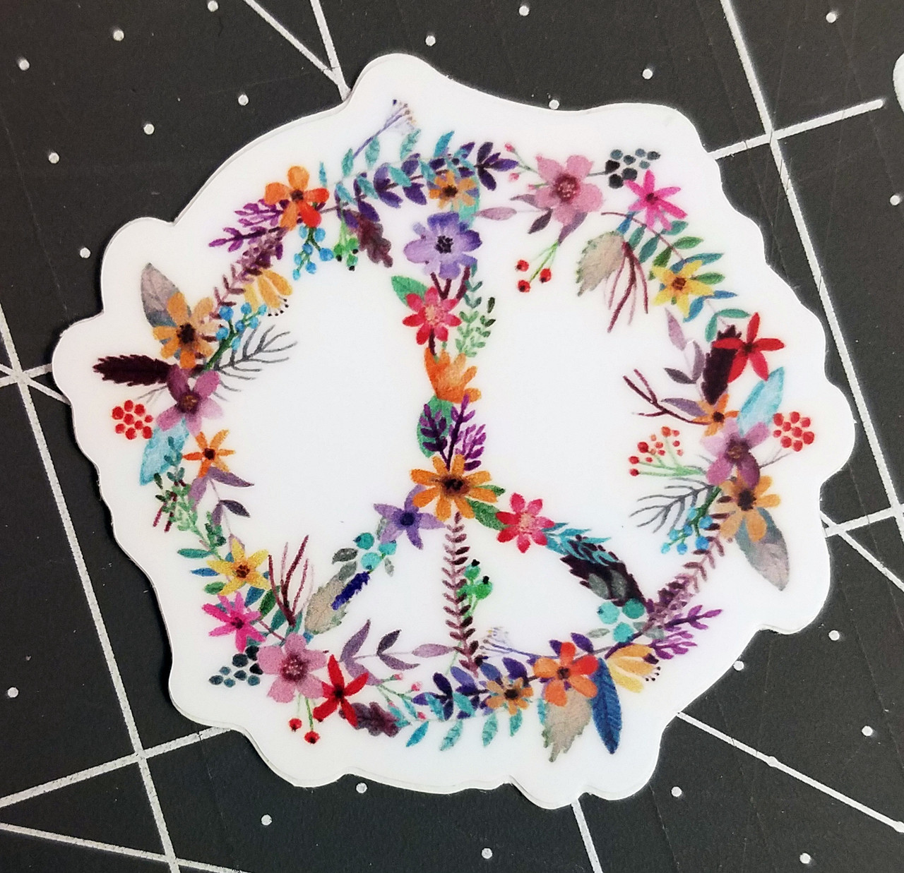 """Set of 5 PEACE SIGN of FLOWERS 2"""" Die Cut Vinyl Decals Stickers - Floral Gypsy Hippie Decals - 5-pack"""