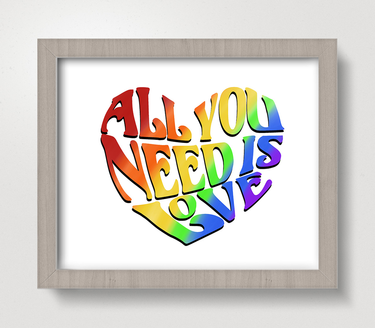 All You Need is Love 8 x 10 Rainbow Art Print - Beatles Inspired Wall Decor Home Kitchen