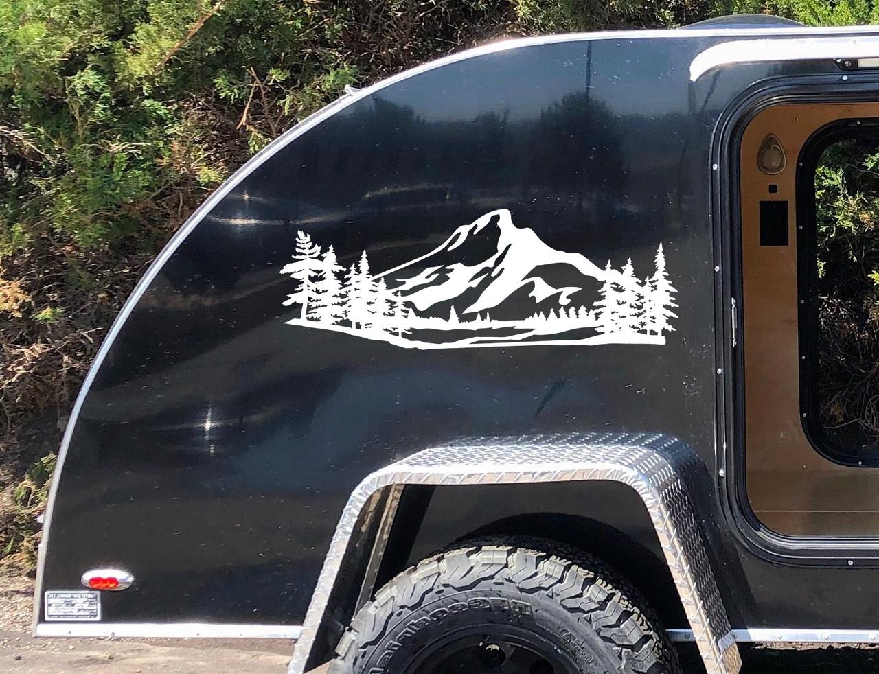 Mountains Forest Scene Vinyl Decal V3 - Camper RV Travel Trailer Graphics 4x4 - Die Cut Sticker
