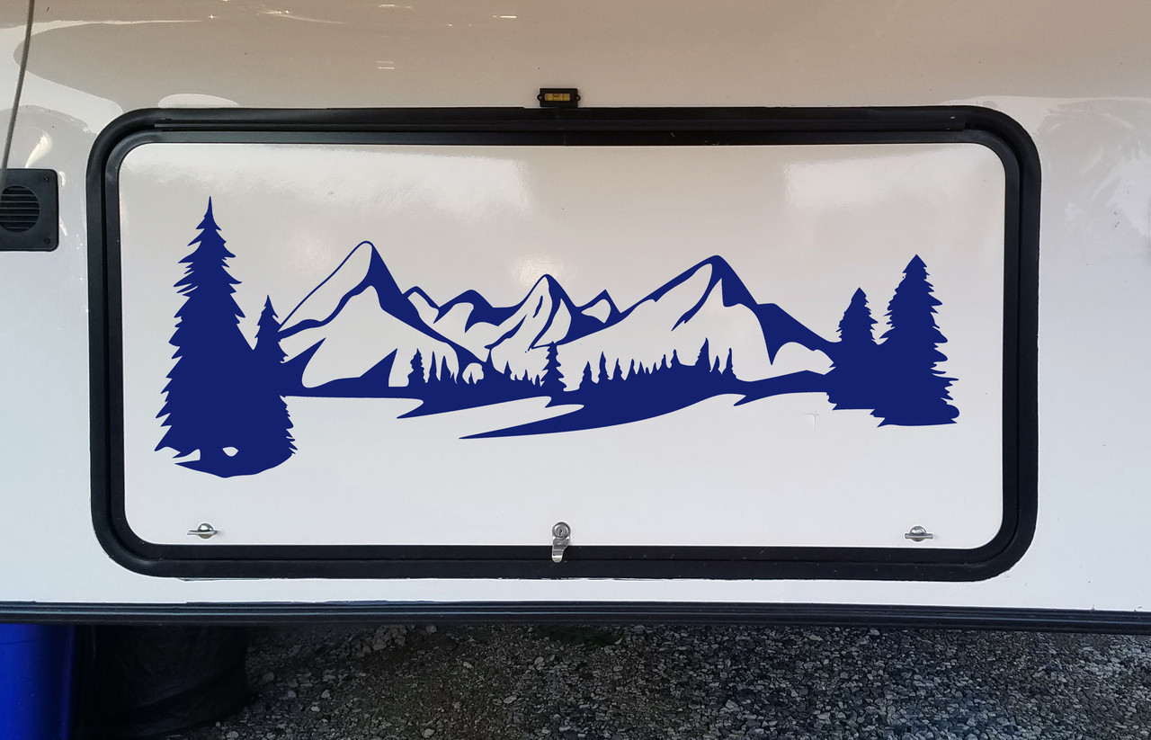 Mountains Forest Scene Vinyl Decal V7 - Camper RV Travel Trailer Graphics 4x4 - Die Cut Sticker