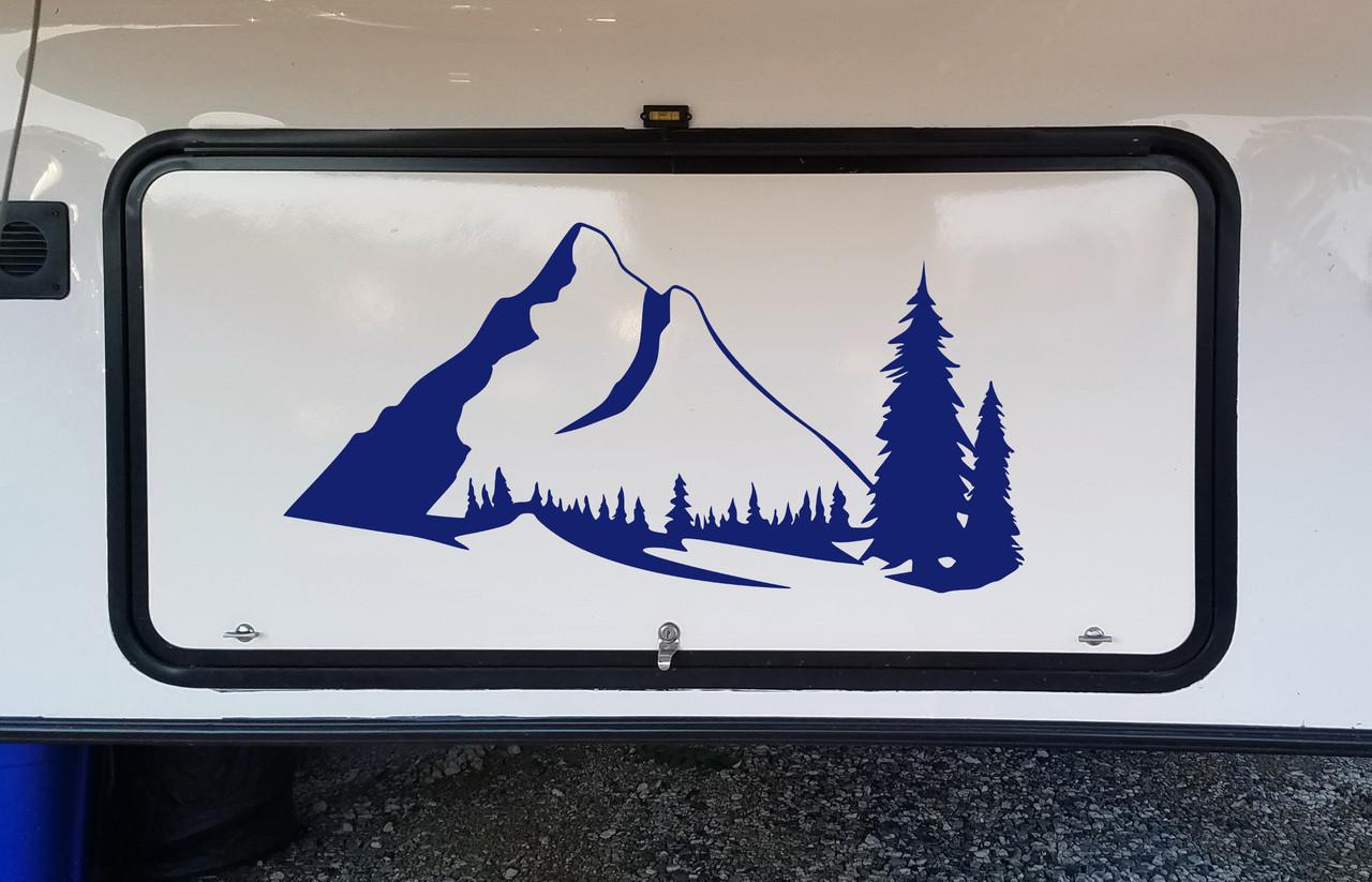 Mountains Forest Scene Vinyl Decal V8 - Camper RV Travel Trailer Graphics 4x4 - Die Cut Sticker