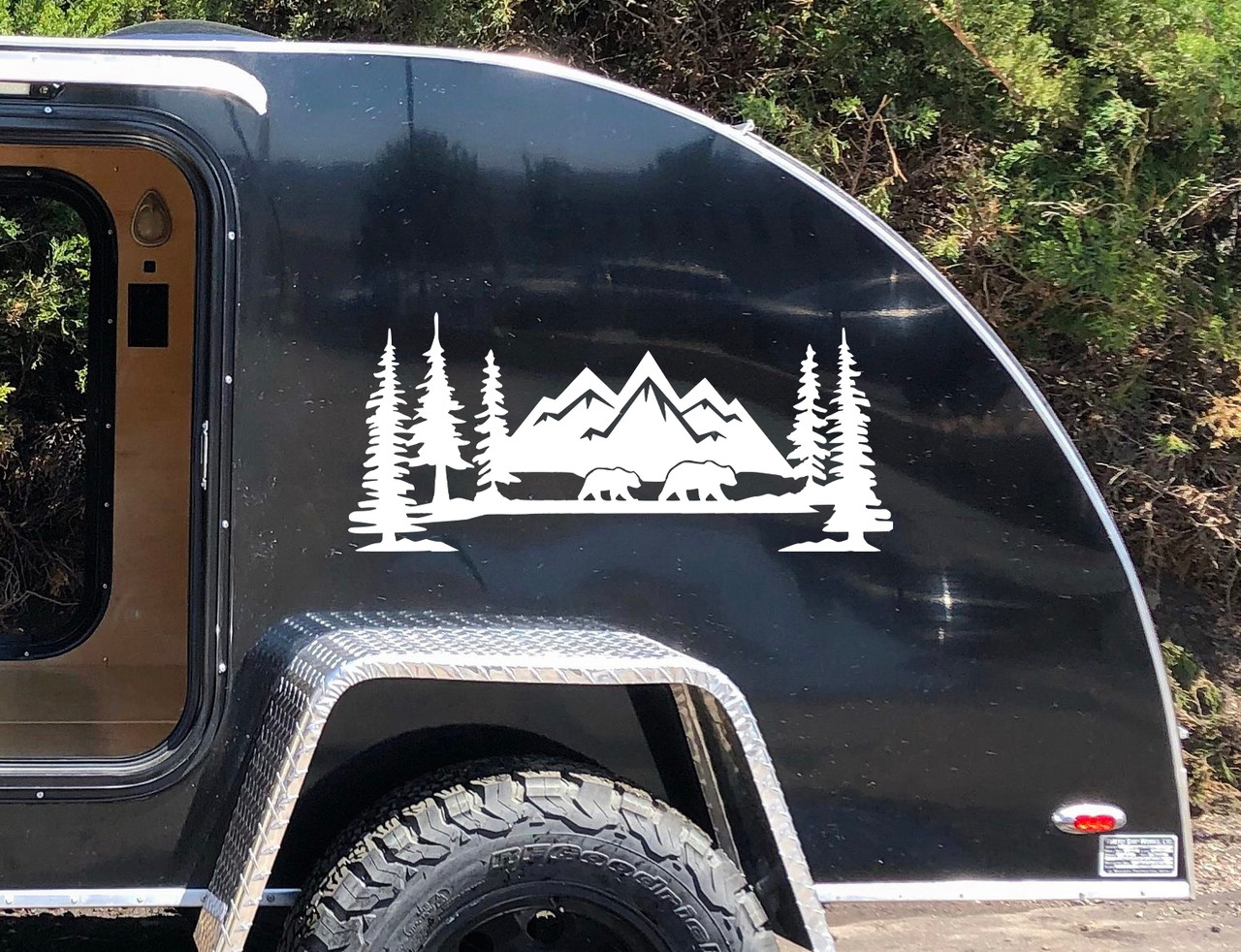 Mountains Bears Forest Scene Vinyl Decal V2 - Camper RV Travel Trailer Graphics 4x4 - Die Cut Sticker