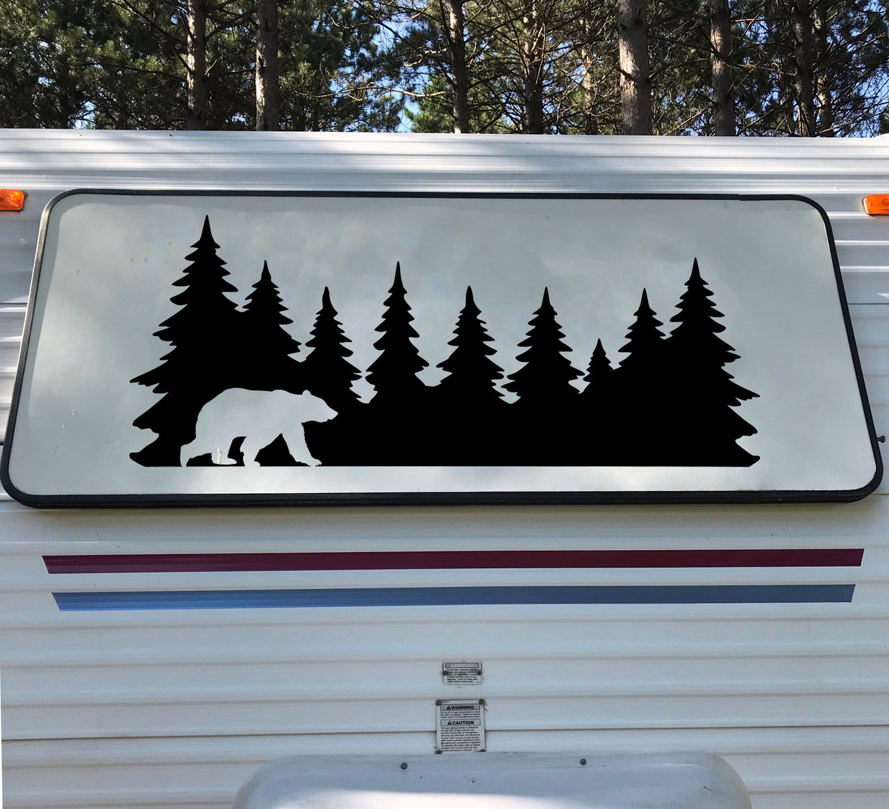Bear in Treeline V2 Vinyl Decal - Forest Grizzly Trees Camping Hiking - Die Cut Sticker