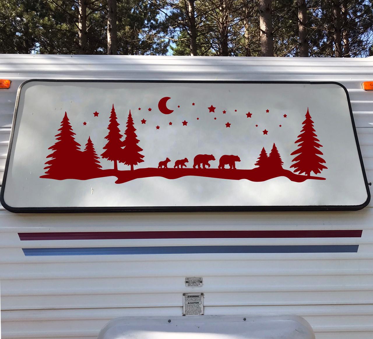 Bear Family Moon Stars Trees Scene Vinyl Decal - Forest Camper Graphics - Die Cut Sticker