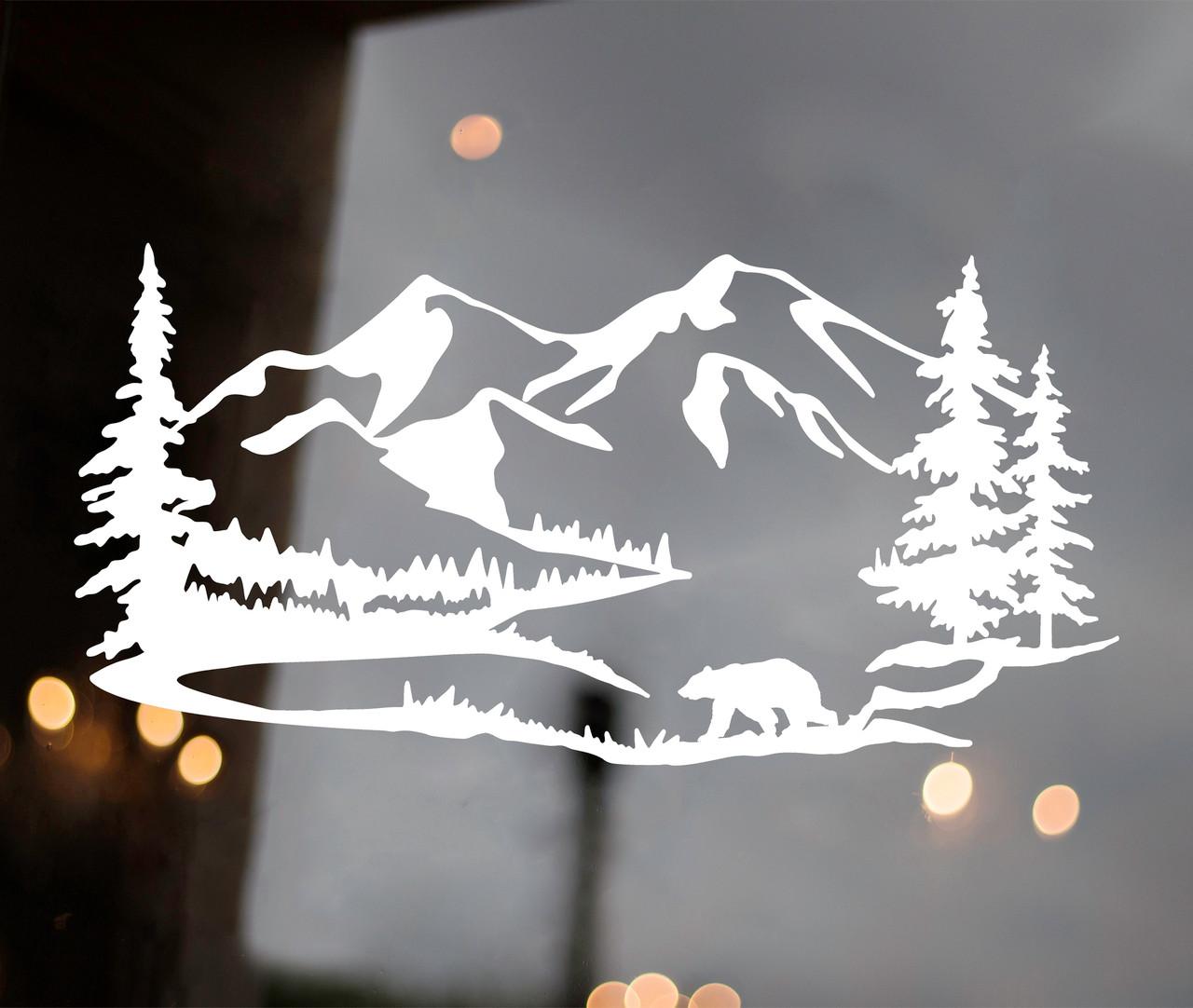 Bear Mountain Trees Scene Vinyl Decal V3 - Camper RV Graphics - Die Cut Sticker