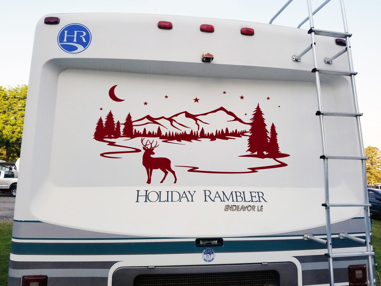 Deer Mountain Moon Stars Scene Vinyl Decal - RV Graphics Travel Trailer - Die Cut Sticker