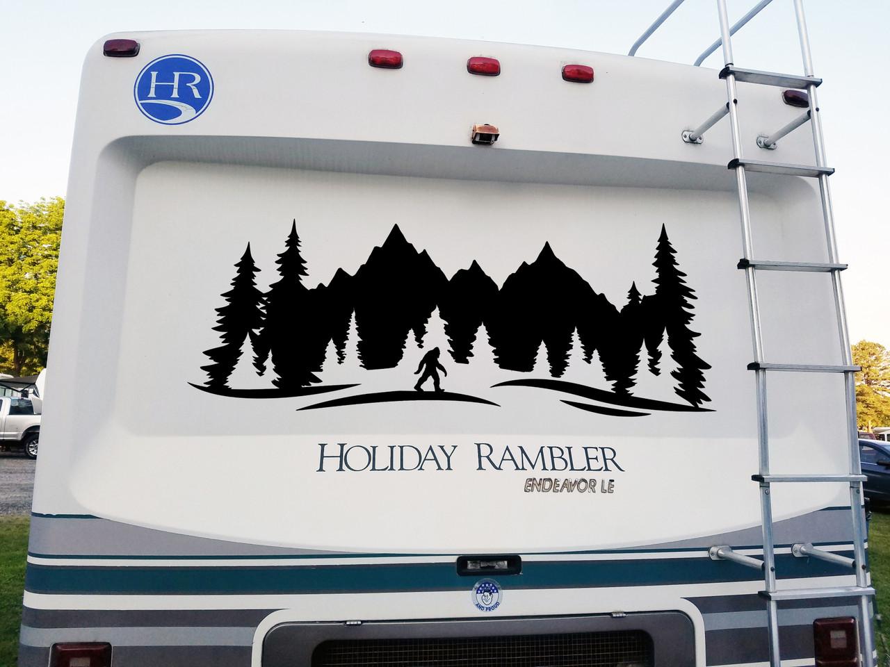 Bigfoot Forest Trees Scene V1 Vinyl Decal - RV Camper Graphics Travel Trailer - Die Cut Sticker