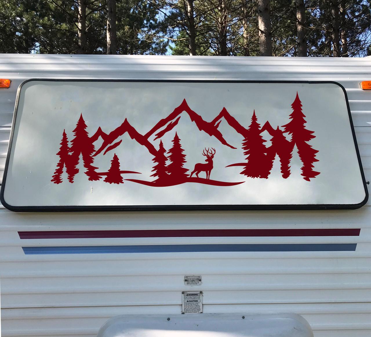 Deer Mountain Forest Scene - Camper RV Graphics Travel Trailer - Die Cut Sticker