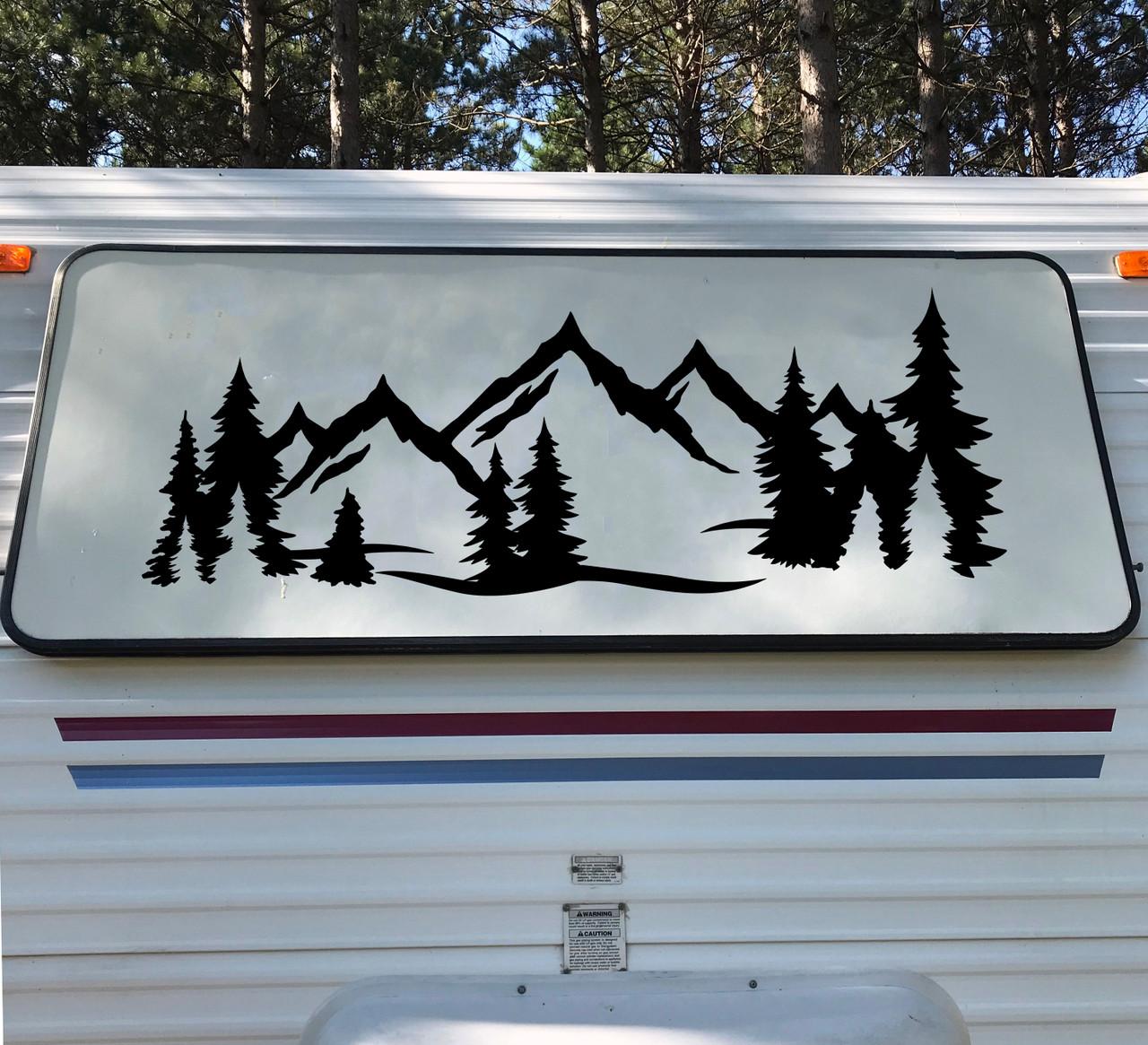 Mountain Forest Scene V9 - Camper RV Graphics Travel Trailer - Die Cut Sticker