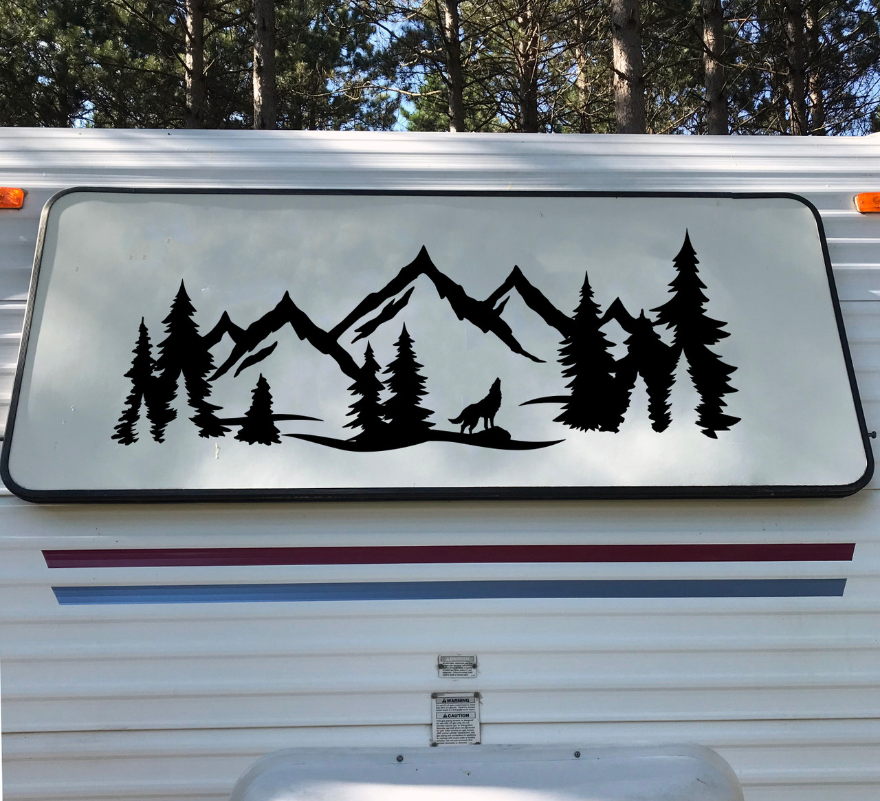 Wolf Mountain Forest Scene - Camper RV Graphics Travel Trailer - Die Cut Sticker
