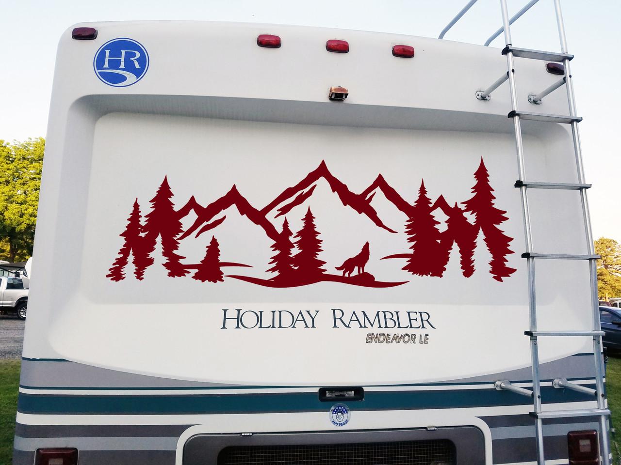 Wolf Mountain Forest Scene - Camper RV Graphics Travel Trailer - Die Cut Sticker
